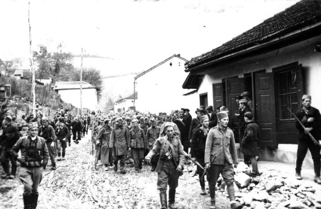 Chetniks escort German Prisoners of War