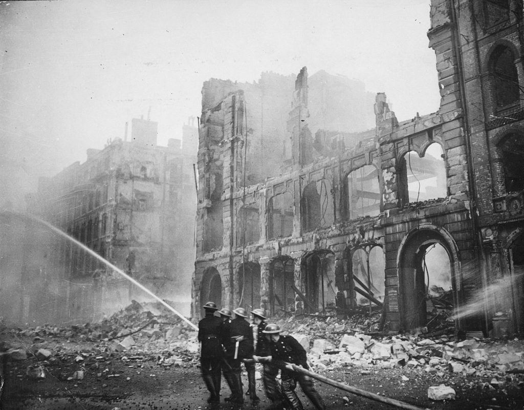 London firefighters bombed buildings