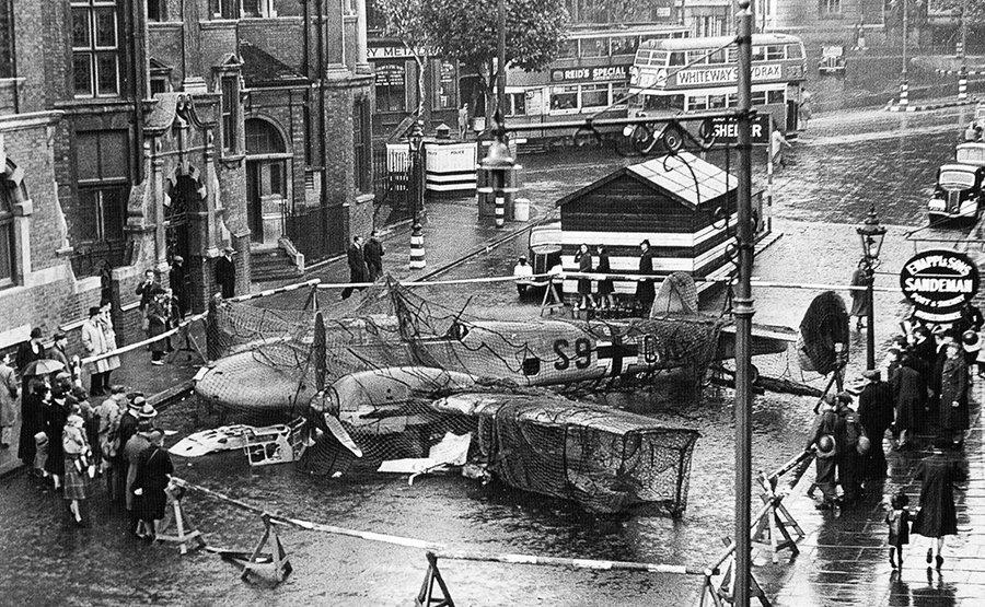shot down Messerschmitt London