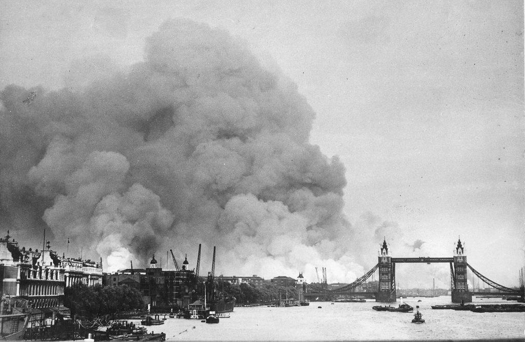 smoke rising from london