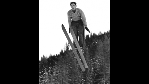 Peter Florjancic ski jumping at the 1936 Winter Olympic Games.
